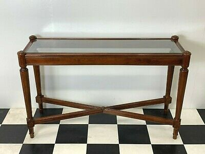 Antique Regency style mahogany glazed hall console table x-stretchers - Delivery