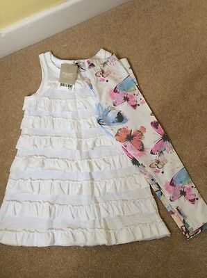 Next girls Butterfly Tunic Top and Leggings  Summer outfit 3 years NEW!