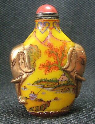 Chinese Traditional Hand Painted Landscape Design Glass Snuff Bottle***-