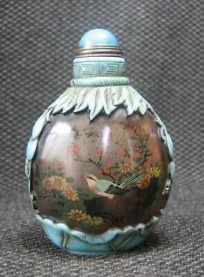 Chinese Traditional Inside-drawing Flowers And birds Design Glass Snuff Bottle*-
