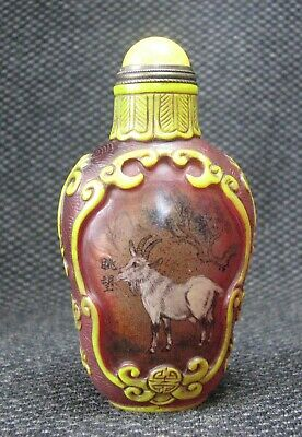 Chinese Traditional Inside-drawing Goat Design Glass Snuff Bottle****-