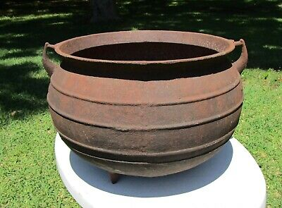 Antique CARRON 15 Gallon Footed Cast Iron Wash Pot Kettle Cauldron  Gate Marked