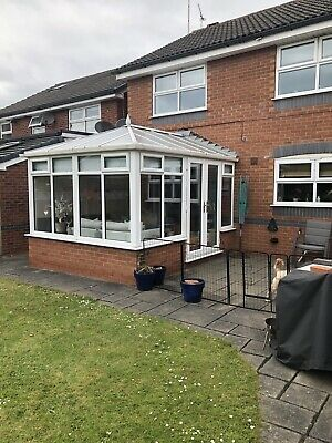 used White upvc conservatory, 3.75m Long, 3.15m Wide, Double Doors On One Side