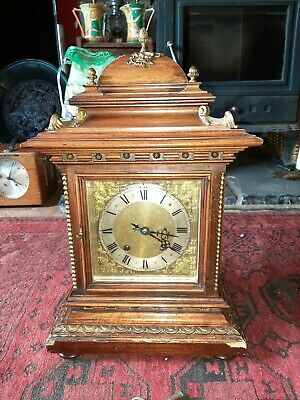 Antique Reinhold Schnekenburger mahogany 8 day Ting Tang chime bracket clock