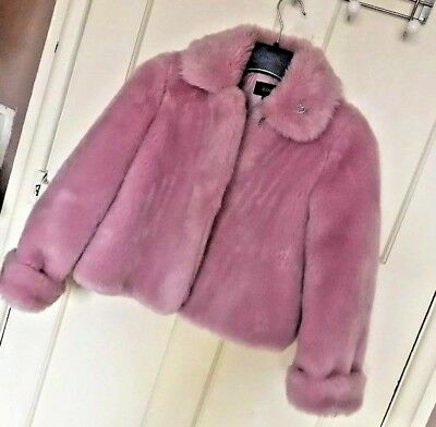 Jasper Conran Pink Faux Fur Coat in Ex condition - Age 13-14 (Would fit size8)