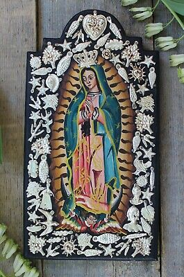 Our Lady of Guadalupe Original Painting & Milagros Retablo Wood Mexican Folk Art