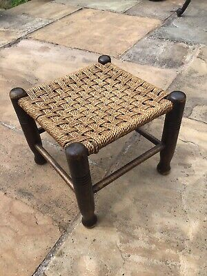 Antique Sea Grass Stool With Turned Legs