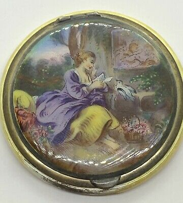Vintage Sterling Scenic Enamel Compact Germany - As-Is