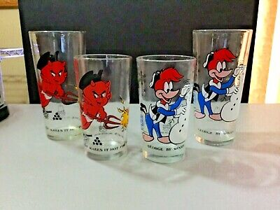 4 Arby's  Bicentennial glasses Hot Stuff & Woody Woodpecker tall and short