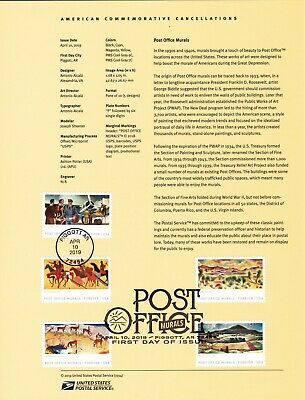 #5372-76 Post Office Murals Souvenir Page #1914 Commemorative Cancellation Stamp