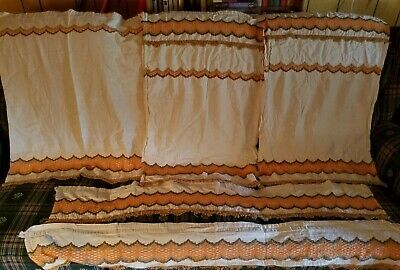 Vintage 3 Cafe Curtains 2 Valances 5 Pc Set Brown, Green, Orange Chenille Trim