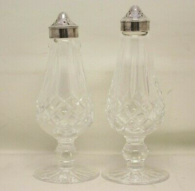 Waterford Crystal Lismore Pattern Tall Footed Salt & Pepper Shakers *FREE SHIP*