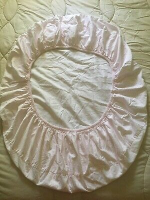 Pottery Barn Kids *Oval* Fitted Pink/White Crib Sheet