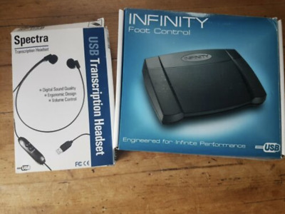 Transcription foot pedal (Infinity) & headset (Spectra)
