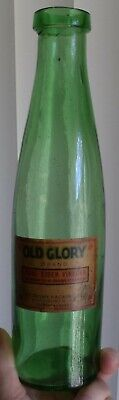 Early Food Type Bottle, Vibrant Yellow Green Berry Jar, Pirated Label Old Glory