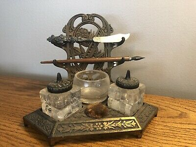 """Antique Vintage Ornate Brass Inkwell 9""""X7"""" Complete Nice Rare 👀👀👀👀"""