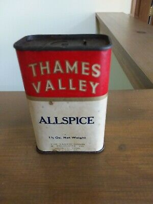 Vintage Thames Valley Allspice Spice Tin Yantic Grain Products Norwich Conn CT