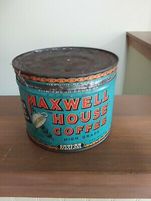Vintage Maxwell House High Grade 1 Pound Coffee Can Tin w/ Lid