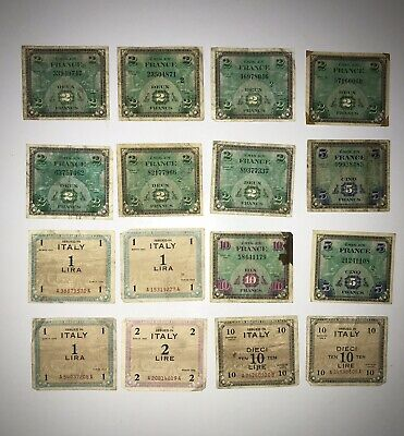 Allied Military Currency Lot France And Italy World War II