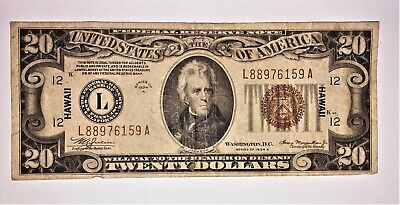 1934 A $20 DOLLAR BILL HAWAII BROWN SEAL NOTE CURRENCY WWII PAPER MONEY FS  m