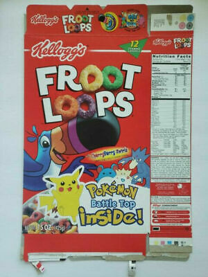 Kellogg's Froot Loops  Empty Cereal Box Pokemon Battle Top 2000