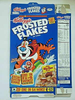 Kellogg's Frosted Flakes Empty Cerealbox Nintendo 64 Game Giveaway Mario 1996