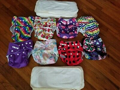 Lot of 8 Cloth Pocket Diapers w/16 Four Layer Bambo Inserts Adjustable Washable