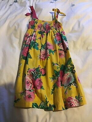 joules girls summer dress mustard and pink age 8 years excellent condition