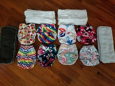 Lot of 8 Design Cloth Pocket Diapers w/ 19 Inserts Adjustable Washable