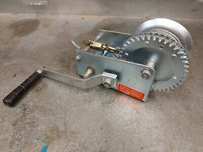 2000lb Cable Hook Manual Winch Boat Ratcheting Handle Pulling Lifting