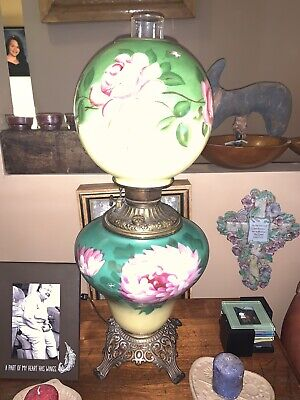 Antique Gone With The Wind Banquet Lamp--Parlor --Lovely-- Flowers Kerosene