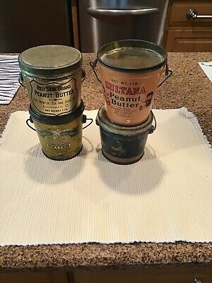 Vintage Lot Of 4 Peanut Butter Tins