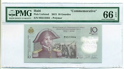"Haiti 2013 10 Gourdes Bank Note ""Commemorative"" Gem Unc 66 EPQ PMG"