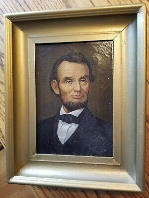 Abraham Lincoln Oil Painting Canvas By R. Bohunek - Illinois Watch Co. 1913