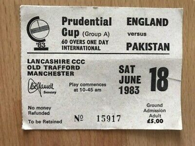 18/6/83 Used Ticket Stub - Prudential Cup, ENGLAND v PAKISTAN, Old Trafford