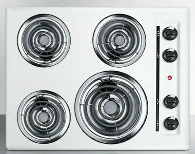 """Summit Appliance 24"""" 4 Burner Compact Coil Electric Cooktop - White - WEL03"""