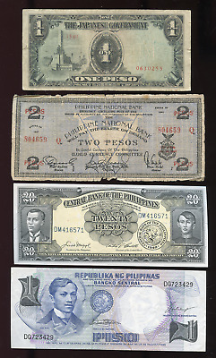 PHILIPPINES: 1941, 1943, 1949 & 1969: ONE, TWO & TWENTY PESOS BANKNOTES (4) diff