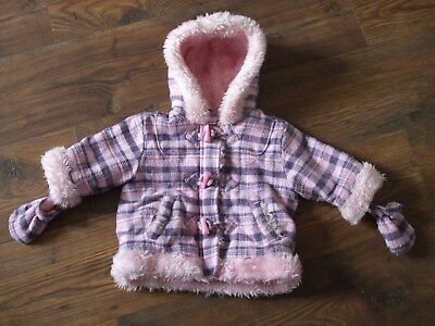 Z. Baby Girls age 3 - 6 months ladybird checked pink coat hooded + gloves CASUAL