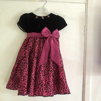 Girls Black Hot Pink Sparkly Party/ Prom Dress Age 3-4