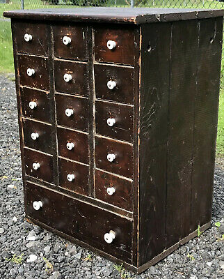 Original Antique Apothecary Cubby Bin 16 Drawer Hardware General Store Cabinet