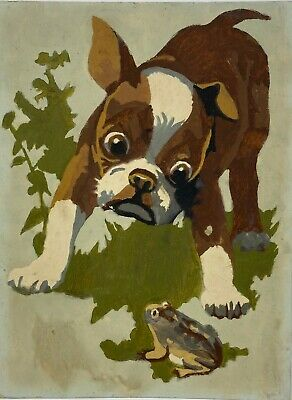 1960s Vintage Dog Puppy Terrier w/ Frog Painting Paint by numbers original art -