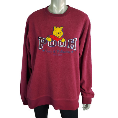 Disney Store Womens Vintage Winnie The Pooh Sweater Sz M Pullover Crew Neck Red
