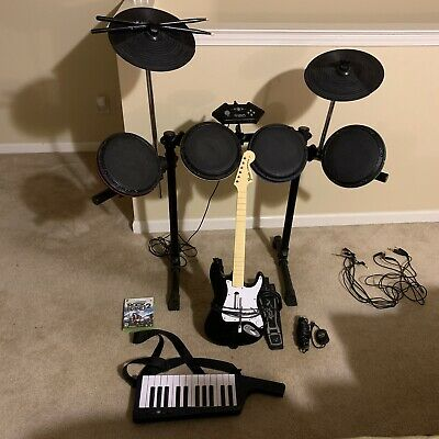 Xbox 360 Rock Band 2 Game Bundle Drum Rocker, Guitar, Mic,  & Wireless Keyboard