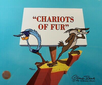 Chariots of Fur Cel - #96 of 500 Signed Chuck Jones Wile E Coyote Roadrunner COA