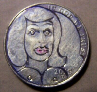 """HAND CARVED CLASSY HOBO COIN,OOAK,  """"...BOTOX  BETTY..Cought in tha Headlights!"""""""