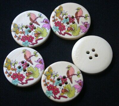 5 Pink Bird, Yellow Butterfly on Wood - Buttons - Sewing, Craft, Scrapbooking