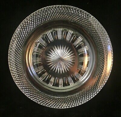 Vintage High Quality Wheel Cut Crystal Dinner Plate