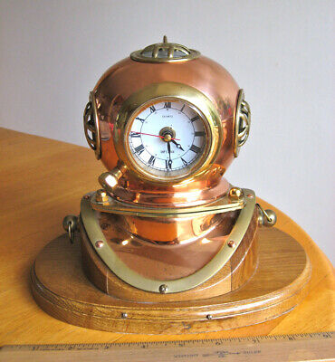 Vintage Nautigift Copper & Brass Diving Helmet Clock With The Wooden Stand