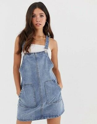 Missguided From Asos Denim Pinafore Overall Dress Size 10