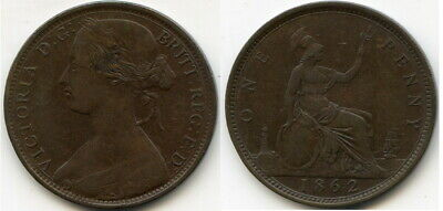 1862 Great Britain One Penny - Queen Victoria - Nice Example!